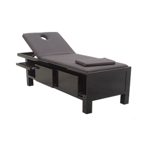 Stationary brown facial massage bed